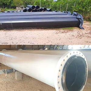 pipe PEHD inserted in a carbon steel pipe