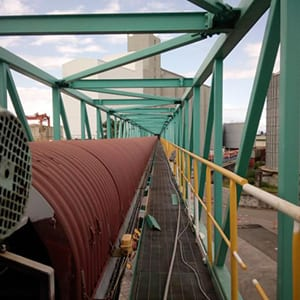 Metal gangway of the conveyor belt